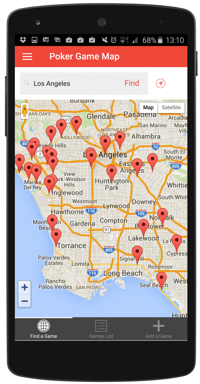 PokerDIY Game Finder Android Mobile App - Map