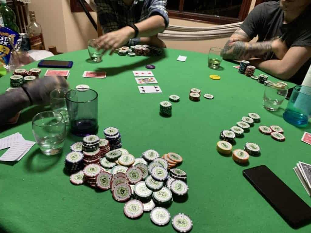Live home poker game with chips