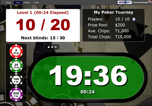 Poker Blind Timer and Chip Calculator